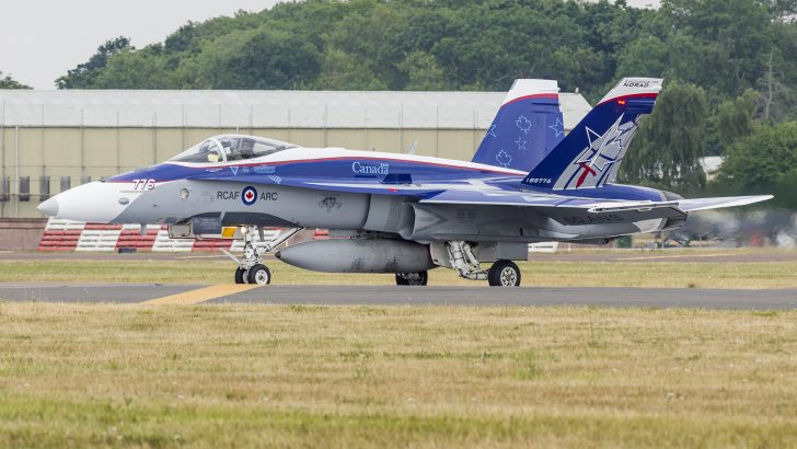 McDonnell Douglas CF 188A Hornet Canadian Air Force departure at RIAT 2018 RAF Fairford AirShow